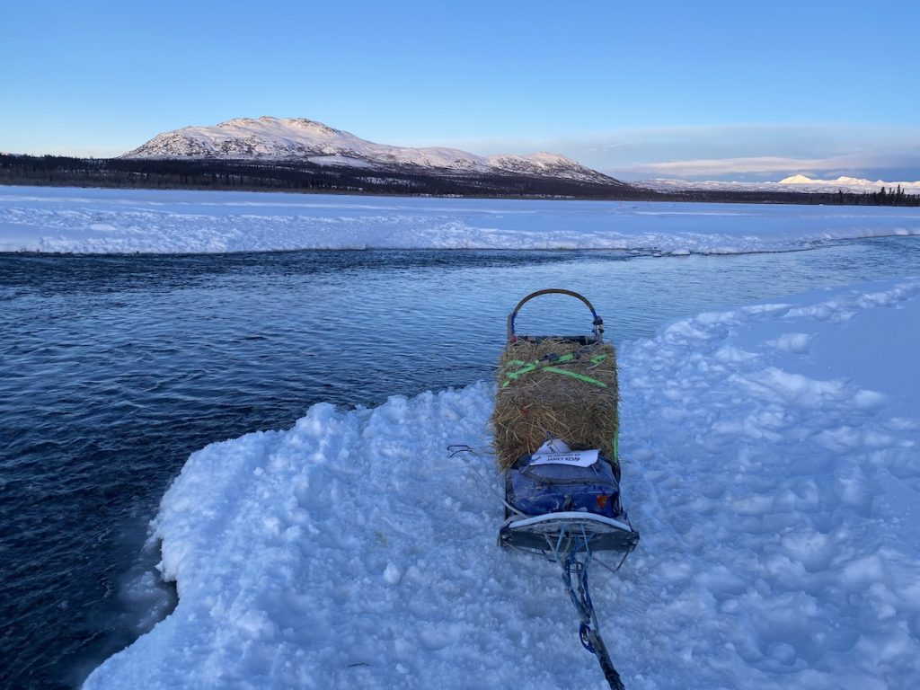 a dog sled sits near open water